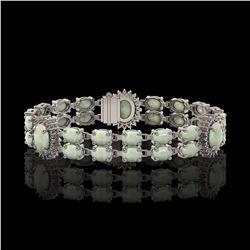 14.39 ctw Opal & Diamond Bracelet 14K White Gold - REF-254M4G