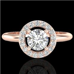 0.70 ctw Micro Pave Halo VS/SI Diamond Certified Ring 14k Rose Gold - REF-101A3N