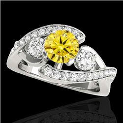2.01 ctw Certified SI Intense Yellow Diamond Bypass Ring 10k White Gold - REF-300X2A