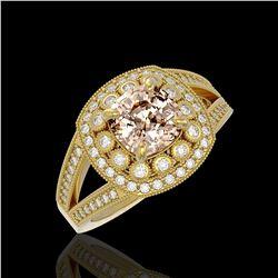 2.29 ctw Certified Morganite & Diamond Victorian Ring 14K Yellow Gold - REF-107R3K