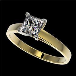 1 ctw VS/SI Quality Princess Diamond Engagment Ring 10k Yellow Gold - REF-243K2Y