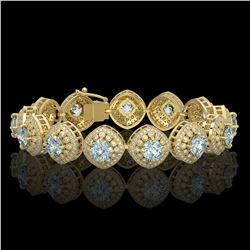 32.95 ctw Aquamarine & Diamond Victorian Bracelet 14K Yellow Gold - REF-982X2A