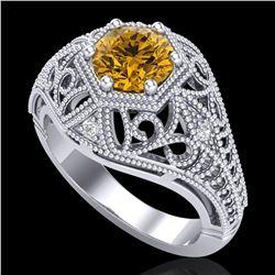 1.07 ctw Intense Fancy Yellow Diamond Art Deco Ring 18k White Gold - REF-254Y5X