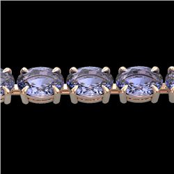 24 ctw Tanzanite Eternity Designer Bracelet 14k Rose Gold - REF-218X2A