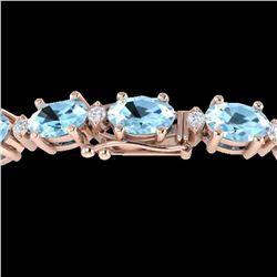 10 ctw Aquamarine & VS/SI Diamond Eternity Bracelet 10k Rose Gold - REF-107G3W