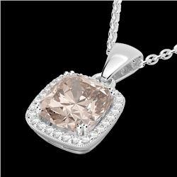 3 ctw Morganite & Micro VS/SI Diamond Pave Necklace 18k White Gold - REF-81M8G