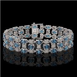 16.06 ctw London Topaz & Diamond Row Bracelet 10K White Gold - REF-209R3K