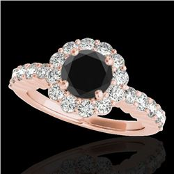 1.75 ctw Certified VS Black Diamond Solitaire Halo Ring 10k Rose Gold - REF-66G8W