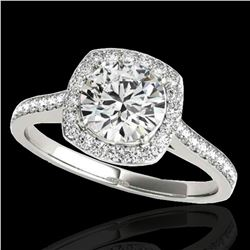 1.4 ctw Certified Diamond Solitaire Halo Ring 10k White Gold - REF-190A9N