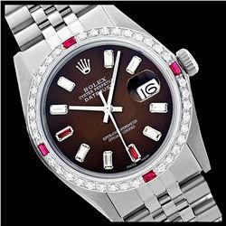Rolex Ladies Stainless Steel, Diam/Ruby Dial & Diam/Ruby Bezel, Sapphire Crystal