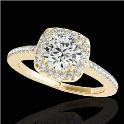 1.25 ctw Certified Diamond Solitaire Halo Ring 10k Yellow Gold - REF-190W9H