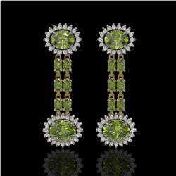 8.69 ctw Tourmaline & Diamond Earrings 14K Yellow Gold - REF-227M3G