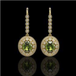 8.45 ctw Tourmaline & Diamond Victorian Earrings 14K Yellow Gold - REF-250K8Y