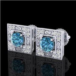 1.63 ctw Fancy Intense Blue Diamond Art Deco Earrings 18k White Gold - REF-176G4W