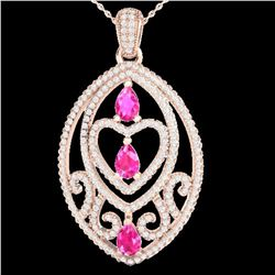 3.50 ctw Pink Sapphire & Micro Diamond Heart Necklace 14k Rose Gold - REF-218A2N