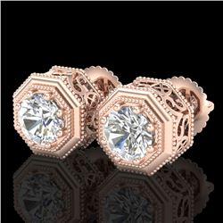1.07 ctw VS/SI Diamond Solitaire Art Deco Stud Earrings 18k Rose Gold - REF-218G2W