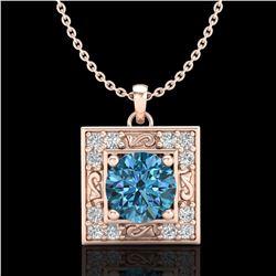 1.02 ctw Fancy Intense Blue Diamond Art Deco Necklace 18k Rose Gold - REF-125W5H