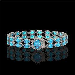 29.22 ctw Swiss Topaz & Diamond Bracelet 14K White Gold - REF-218F2M