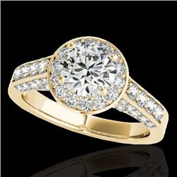2.56 ctw Certified Diamond Solitaire Halo Ring 10k Yellow Gold - REF-354R5K