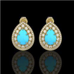 7.54 ctw Turquoise & Diamond Victorian Earrings 14K Yellow Gold - REF-218M2G