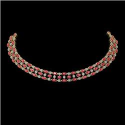 56.93 ctw Tourmaline & Diamond Necklace 10K Yellow Gold - REF-709M3G