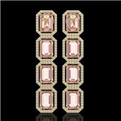 19.81 ctw Morganite & Diamond Micro Pave Halo Earrings 10k Yellow Gold - REF-424Y8X