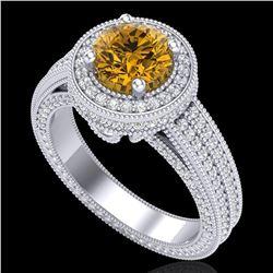 2.8 ctw Intense Fancy Yellow Diamond Art Deco Ring 18k White Gold - REF-427R3K