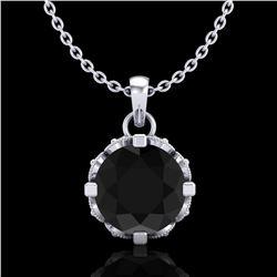 1.14 ctw Fancy Black Diamond Art Deco Stud Necklace 18k White Gold - REF-81K8Y