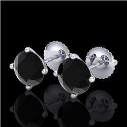 2.5 ctw Fancy Black Diamond Art Deco Stud Earrings 18k White Gold - REF-61W4H