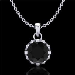 0.85 ctw Fancy Black Diamond Art Deco Stud Necklace 18k White Gold - REF-81F8M