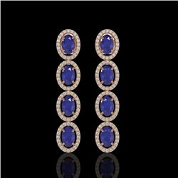 6.47 ctw Sapphire & Diamond Micro Pave Halo Earrings 10k Rose Gold - REF-143M6G