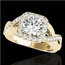 1.65 ctw Certified Diamond Solitaire Halo Ring 10k Yellow Gold - REF-218G2W