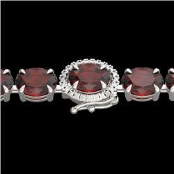 32 ctw Garnet & VS/SI Diamond Eternity Micro Bracelet 14k White Gold - REF-119A5N