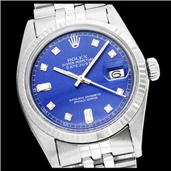 Rolex Men's Stainless Steel, QuickSet, Diamond Dial with Fluted Bezel