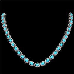 25.51 ctw Turquoise & Diamond Micro Pave Halo Necklace 10k White Gold - REF-500G8W
