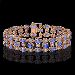 14.8 ctw Tanzanite & Diamond Row Bracelet 10K Rose Gold - REF-245H5R