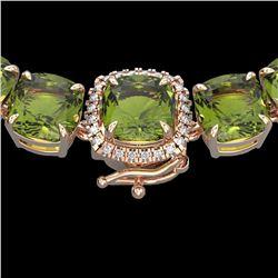 100 ctw Green Tourmaline & Diamond Micro Necklace 14k Rose Gold - REF-1072X8A