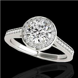 1.33 ctw Certified Diamond Solitaire Halo Ring 10k White Gold - REF-190H9R