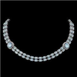 38.95 ctw Sky Topaz & Diamond Necklace 14K White Gold - REF-527F3M