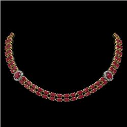 43.13 ctw Ruby & Diamond Necklace 14K Yellow Gold - REF-527X3A