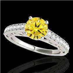 1.4 ctw Certified SI/I Fancy Intense Yellow Diamond Ring 10k White Gold - REF-190K9Y