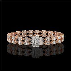 13.04 ctw Emerald Cut & Oval Diamond Bracelet 18K Rose Gold - REF-1261G9W