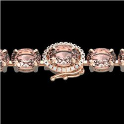 18.25 ctw Morganite & Diamond Eternity Micro Bracelet 14k Rose Gold - REF-227W3H