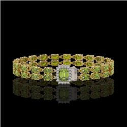 16.97 ctw Tourmaline & Diamond Bracelet 14K Yellow Gold - REF-236H4R