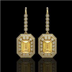 11.44 ctw Canary Citrine & Diamond Victorian Earrings 14K Yellow Gold - REF-243Y5X