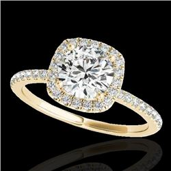 1.5 ctw Certified Diamond Solitaire Halo Ring 10k Yellow Gold - REF-238Y6X