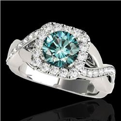 2 ctw SI Certified Fancy Blue Diamond Solitaire Halo Ring 10k White Gold - REF-190F9M