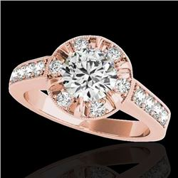 2 ctw Certified Diamond Solitaire Halo Ring 10k Rose Gold - REF-286A4N