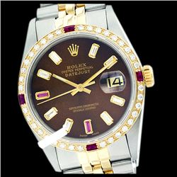 Rolex Men's Two Tone 14K Gold/SS, QuickSet, Diam/Ruby Dial & Diam/Ruby Bezel