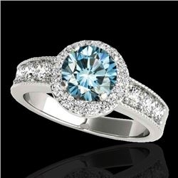 2.1 ctw SI Certified Fancy Blue Diamond Solitaire Halo Ring 10k White Gold - REF-170K5Y